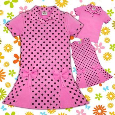 Комплект блузка и рокля на точки в розово