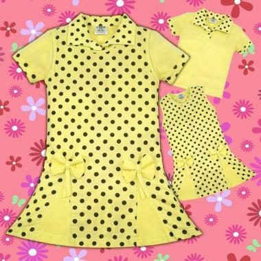 Комплект блузка и рокля на точки в жълто