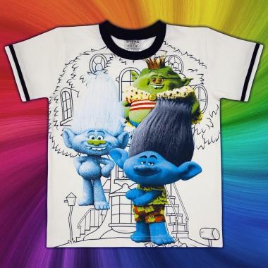 Тениска Тролчета в екрю