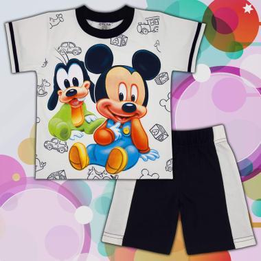 Комплект тениска и бермуди Мики Маус и Гуфи в екрю