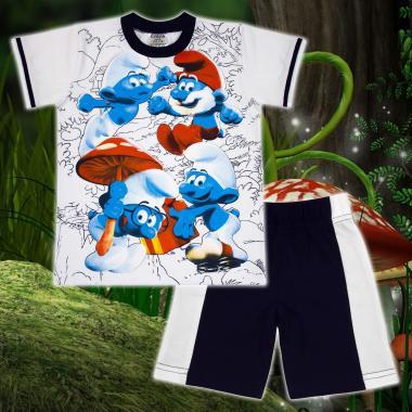 Комплект тениска и бермуди Смърфове в бяло