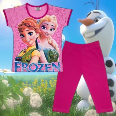 Комплект блузка и клин Замръзналото кралство в розово и циклама М2