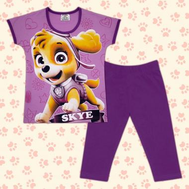 Комплект блузка и клин Скай Пес Патрул в лилаво М2