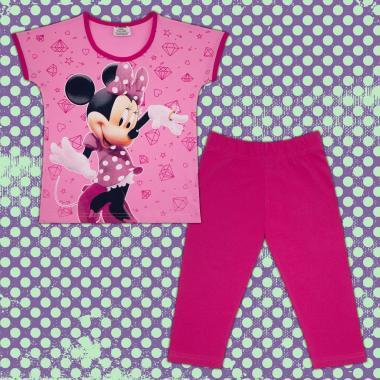 Комплект блузка и клин Мини Маус в розово и циклама М2