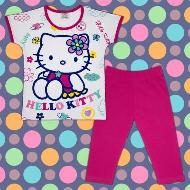 Комплект блузка и клин Кити в бяло и циклама М2