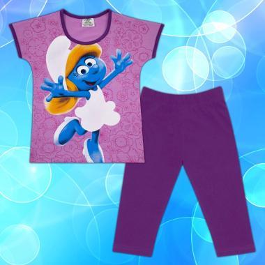 Комплект блузка и клин Смърфиета в лилаво М2