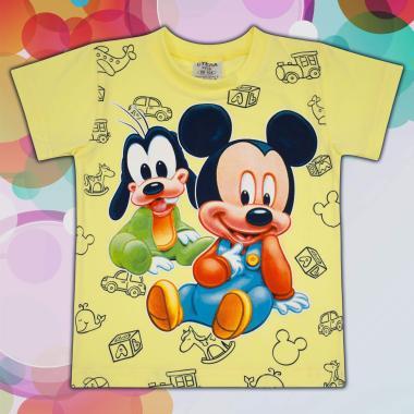 Тениска Мики Маус и Гуфи в жълто