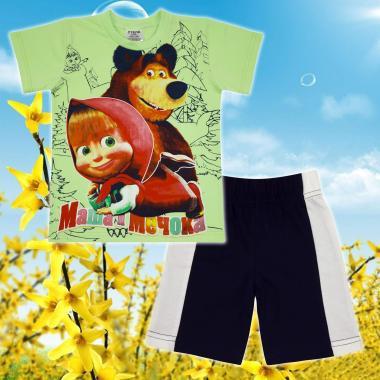 Комплект тениска и бермуди Маша и Мечока в резеда