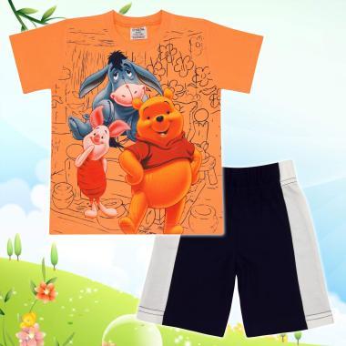 Комплект тениска и бермуди Мечо Пух в оранжево