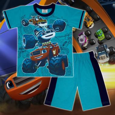 Комплект тениска и бермуди Пламъчко в морско синьо