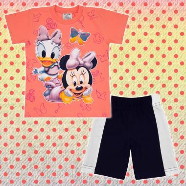 Комплект тениска и бермуди Мини Маус бебе в цвят праскова