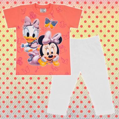 Комплект тениска и клин Мини Маус бебе в праскова и бяло