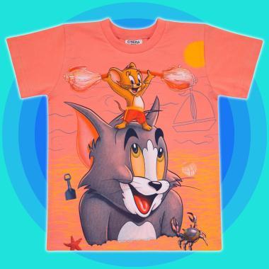 Тениска Том и Джери в цвят праскова