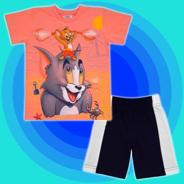 Комплект тениска и бермуди Том и Джери в цвят праскова