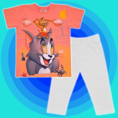 Комплект тениска и клин Том и Джери в праскова и бяло