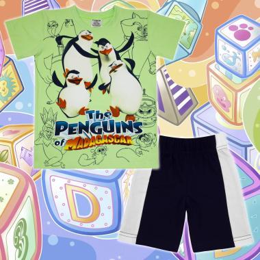 Комплект тениска и бермуди Пингвините от Мадагаскар в резеда