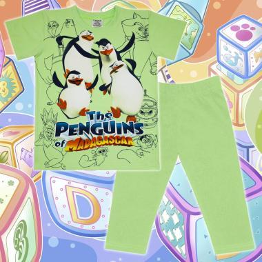 Комплект тениска и клин Пингвините от Мадагаскар в резеда
