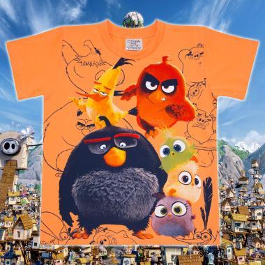 Тениска Angry Birds в оранжево