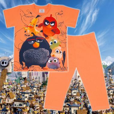 Комплект тениска и клин Angry Birds в оранжево