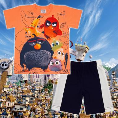 Комплект тениска и бермуди Angry Birds в оранжево