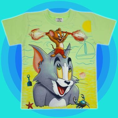 Тениска Том и Джери в резеда