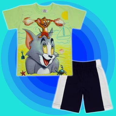 Комплект тениска и бермуди Том и Джери в резеда