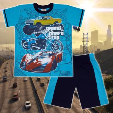 Комплект тениска и бермуди GTA в наситено синьо