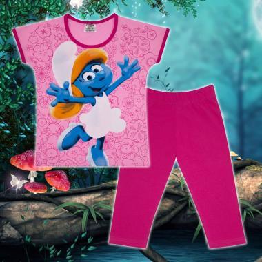 Комплект блузка и клин Смърфиета в розово и циклама М2