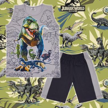 Комплект тениска без ръкав и бермуди Джурасик в сиво