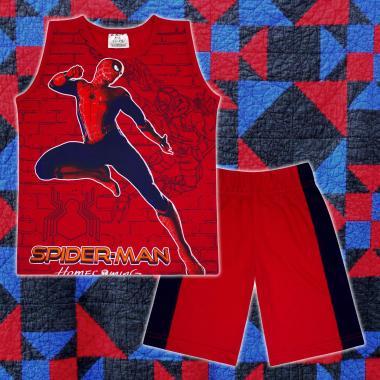 Комплект тениска без ръкав и бермуди Спайдърмен в червено