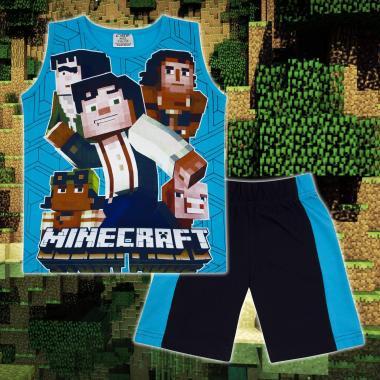 Комплект тениска без ръкав и бермуди Майнкрафт в наситено синьо