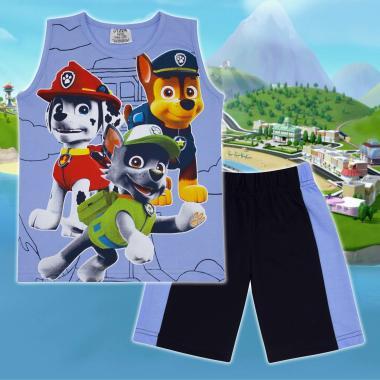 Комплект тениска без ръкав и бермуди Пес Патрул в синьо