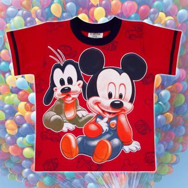 Тениска Мики Маус и Гуфи в червено
