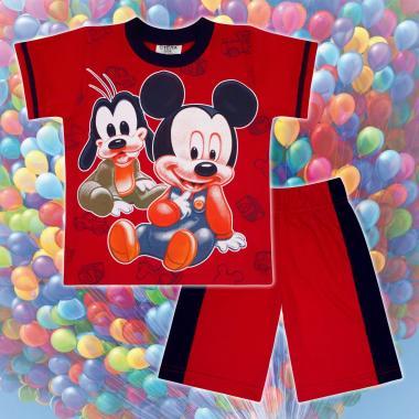 Комплект тениска и бермуди Мики Маус и Гуфи в червено