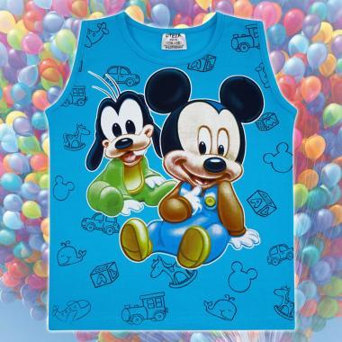 Тениска без ръкав Мики Маус и Гуфи в наситено синьо