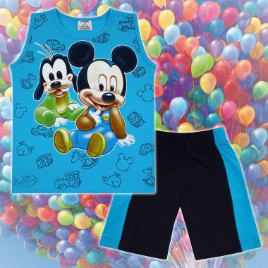 Комплект тениска без ръкав и бермуди Мики Маус и Гуфи в наситено синьо