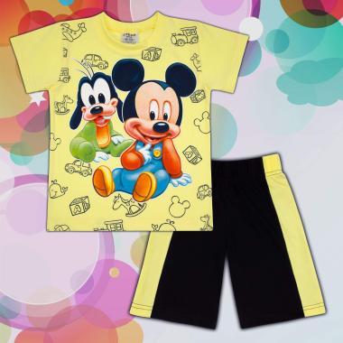 Комплект тениска и бермуди Мики Маус и Гуфи в жълто