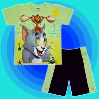 Комплект тениска и бермуди Том и Джери в резеда2