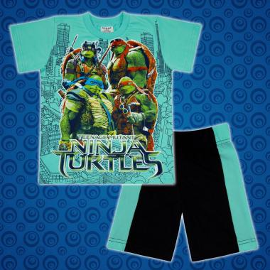Комплект тениска и бермуди Костенурките Нинджа в мента2