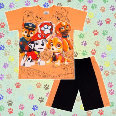 Комплект тениска и бермуди Пес Патрул в оранжево