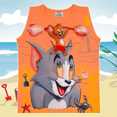 Тениска без ръкав Том и Джери в оранжево