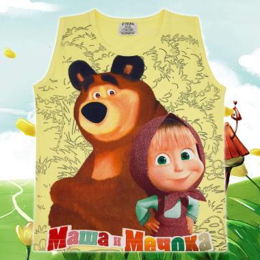 Тениска без ръкав Маша и Мечока в жълто