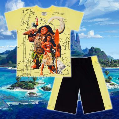 Комплект тениска и бермуди Смелата Ваяна в жълто