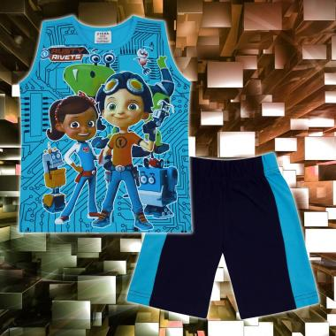 Комплект тениска без ръкав и бермуди Rusty Rivets в наситено синьо