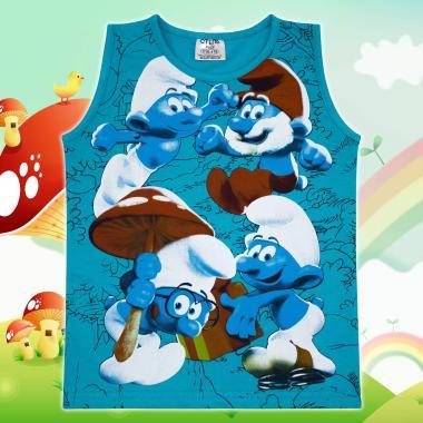 Тениска без ръкав Смърфовете в морско синьо