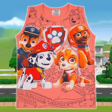Тениска без ръкав Пес Патрул в цвят праскова