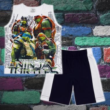 Комплект тениска без ръкав и бермуди Костенурките Нинджа в бяло