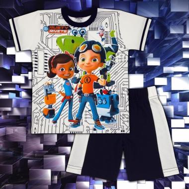 Комплект тениска без ръкав и бермуди Rusty Rivets в екрю