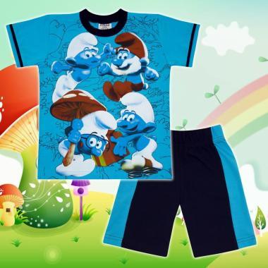 Комплект тениска и бермуди Смърфове в наситено синьо