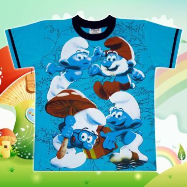 Тениска Смърфове в наситено синьо